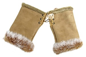 Other Genuine Fur Trimmed Tan Fingerless Gloves Free Shipping