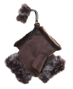 Other Genuine Fur Trimmed Coffee Fingerless Gloves Free Shipping