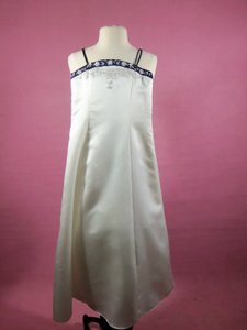 Alfred Angelo Ivory/Navy Satin 6597 Formal Bridesmaid/Mob Dress Size OS (one size)