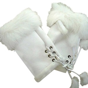 Other Genuine Fur Trimmed Fingerless Gloves Free Shipping