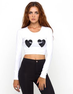 Nasty Gal - Motel Rocks Edgy Sequins Crop Sexy Top White and Black
