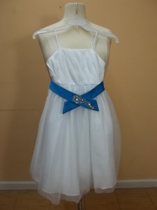 Alfred Angelo White/Marine Blue 6652 Size 6 Dress