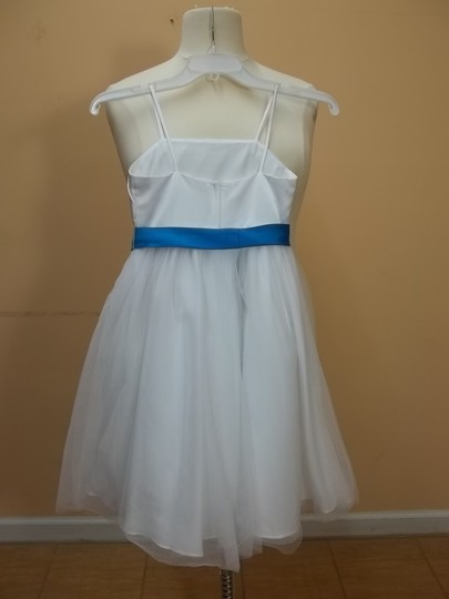 Alfred Angelo White/Marine Blue 6652 Formal Bridesmaid/Mob Dress Size OS (one size)