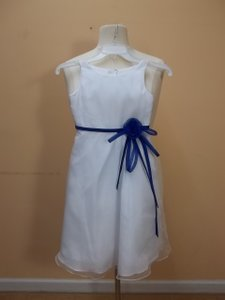 Alfred Angelo White/Cobalt 6653 Size 6 Dress