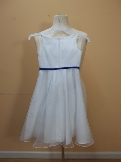 Alfred Angelo White/Cobalt Organza 6653 Formal Bridesmaid/Mob Dress Size OS (one size)