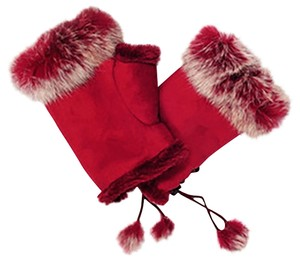 Red Genuine Fur Trimmed Fingerless Gloves Free Shipping