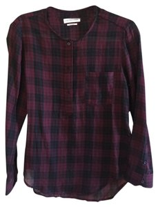 Étoile Isabel Marant Plaid Top Deep Red and Black