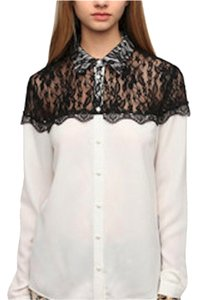 Sparkle & Fade Urban Outfitters Blouse Lace Collar Button Down Shirt White/Black