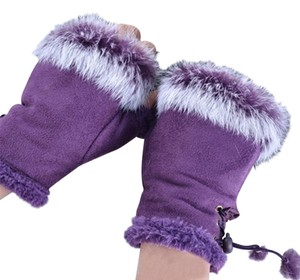 Real Fur Trimmed Purple Fingerless Gloves Free Shipping
