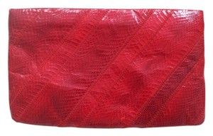 Vintage Snakeskin Red Clutch