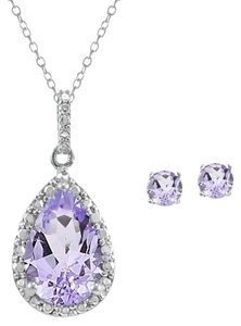 Silver Speck Silver Speck 925 Silver 3.25ct Amethyst & Diamond Teardrop Necklace & Earrings Set
