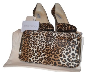 Jimmy Choo Leopard Pony Hair with matching clutch Platforms