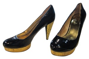 Michael Kors Patent Leather Cork Heels Cork Casual Style Black Pumps