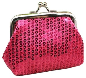 Rose Red Sequin Coin Change Purse Free Shipping