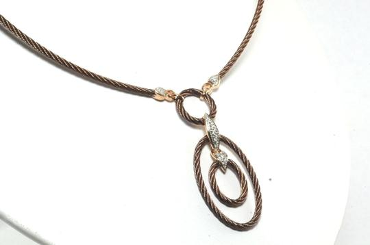 Charriol CHARRIOL Celtique Bronze Cable 18K Petra Gold Diamond Oval Pendant Necklace