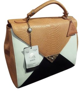 Sorial Leather Tote Satchel in Tan,White,Black