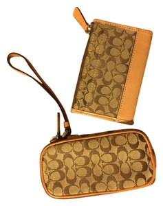 Coach Coach Beige Monogram Canvas Coin Purse and Makeup Holders