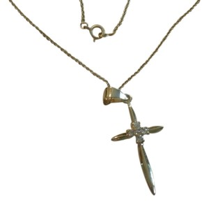 NEW NO TAGS STERLING SILVER GOLD PLATED NECKLACE CROSS PENDANT