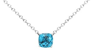 Blue Nile Swiss Blue Topaz Cushion Pendant in Sterling Silver (8mm)