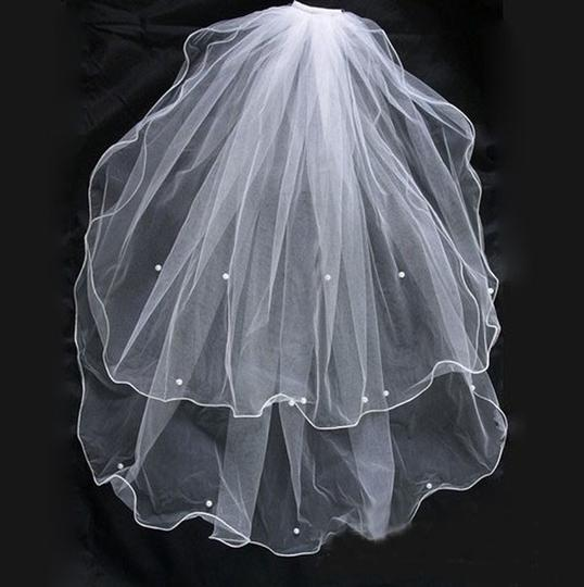 2t Wedding Veil In White With Pearls New!!!