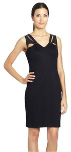 Cynthia Steffe Lbd Cocktail Pencil Leather Sheath Dress