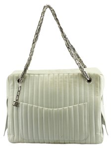Chanel Mademoiselle Vertical Quilted Tote in Light Green