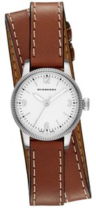 Burberry Burberry Women's The Utilitarian Silver Tone Stainless White Dial Brown Leather Wrap Watch BU7848