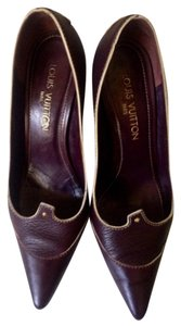 Louis Vuitton Suhali Leather Size 8 Italy Burgundy Pumps