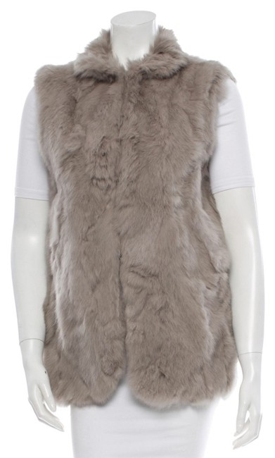 Item - Grey Rabbit Fur Warm Vest Size 8 (M)
