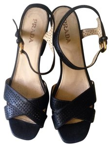 Prada Strapy Leather Italy Size 8 Black Wedges