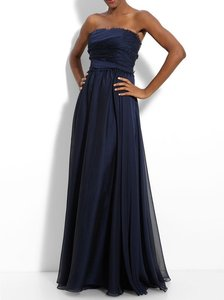 Monique Lhuillier Navy Blue Chiffon 319329 Traditional Bridesmaid/Mob Dress Size 2 (XS)