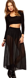 American Apparel Sheer Chiffon Maxi Maxi Skirt Black