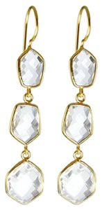 Independent Clothing Co. Crystal Clear Quartz Triple Drop Earrings