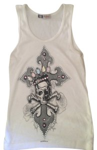 Other Skull Style Rock N Roll Biker Chic Top white