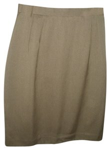 Isaac Hazan Vintage Pencil High Waist A-line Neutral Skirt taupe