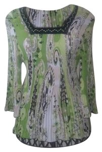 Paisley Angel Sleeves Pleated Top green,black,white