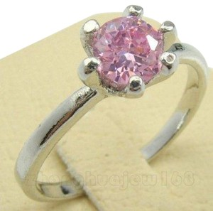 Other New Size 7, Pink Sapphire Crystal In 10K White Gold Filled Ring,