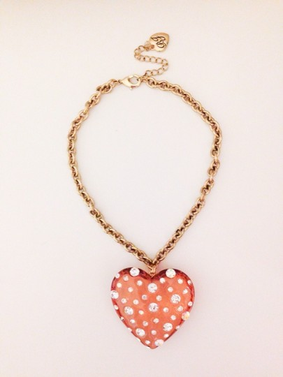 Betsey Johnson Betsey Johnson Lucite Crystal Rhinestone Heart Charm Pendant Necklace