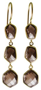 Independent Clothing Co. Smokey Topaz Triple Drop Earrings