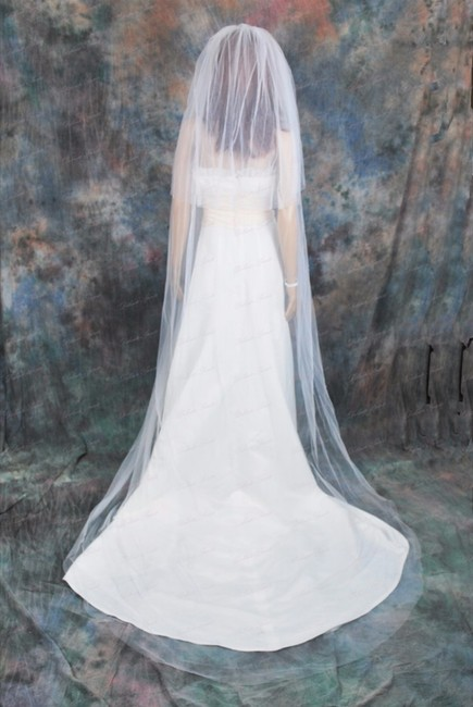 Item - White Long Cathedral with Blusher Plain Edge Bridal Veil
