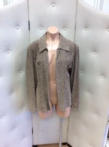 Chico's Chicos Womens Leather Taupe Blazer