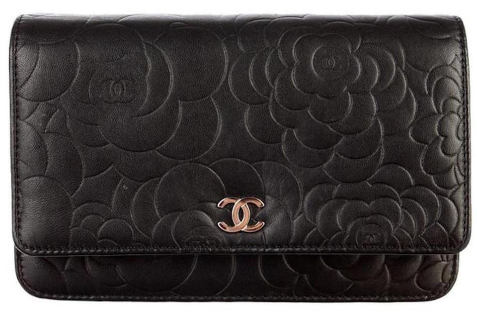 63157bbb94e Chanel Clutch Wallet on Chain Classic Flap Wallet On A Chain Camellia  Quilted Mini Flower Black Lambskin Leather Cross Body Bag