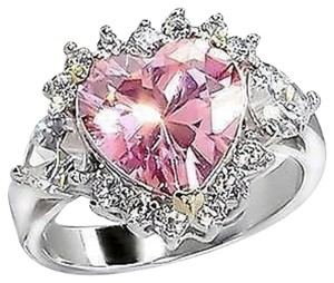 New Size 8, 3.5 Ct. Pink CZ Heart Engagement/Bridal/Cocktail Ring