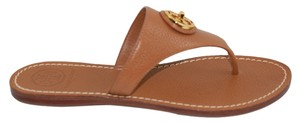 Tory Burch Selma Flats Thongs T-strap Flip Flops 7 New Flame Orange Red Leather New Rare Logo Gold Logo Tumbled Travel Summer Royal Tan Sandals