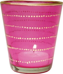 Fuchsia Pink Gilded Glass Candle Holder (horizontal Accents) - Set Of 15
