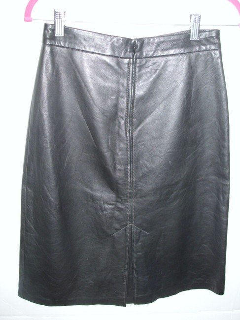 Gap Leather Soft Vintage Moto Rocker Skirt Black