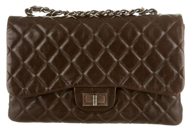 Chanel Classic Flap 2.55 Reissue Crossbody Hybrid Reissue Quilted Cc Logo Jumbo Brown Lambskin Leather Shoulder Bag Chanel Classic Flap 2.55 Reissue Crossbody Hybrid Reissue Quilted Cc Logo Jumbo Brown Lambskin Leather Shoulder Bag Image 1