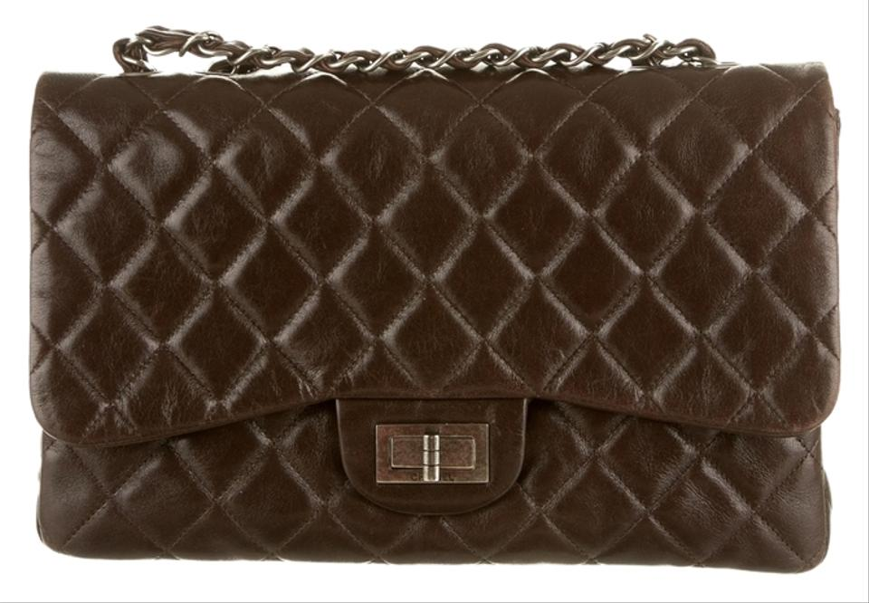 d4cdb39a4505e8 Chanel Classic Flap 2.55 Reissue Hybrid Reissue Quilted Cc Logo Jumbo  Crossbody Brown Lambskin Leather Shoulder Bag