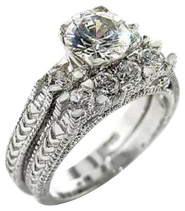 New Size 8, 3 CT RHODIUM PLATED CZ WEDDING SET