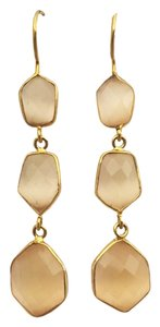 Independent Clothing Co. Peach Chalcedony Triple Drop Earrings